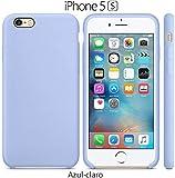 Funda Silicona para iPhone 5, 5s, SE Silicone Case Calidad, Textura Suave, Forro Interno Microfibra (Azul Claro)