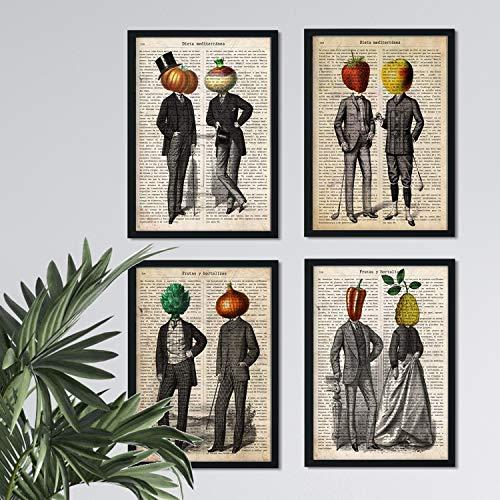 Nacnic Set de Cuatro láminas de Frutas y Verduras. Tamaño A4. Modelo 1. Sin Marco