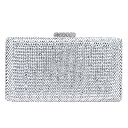Bonjanvye Crystal Clutch Party Purses for Women Evening Bags and Clutches Silver