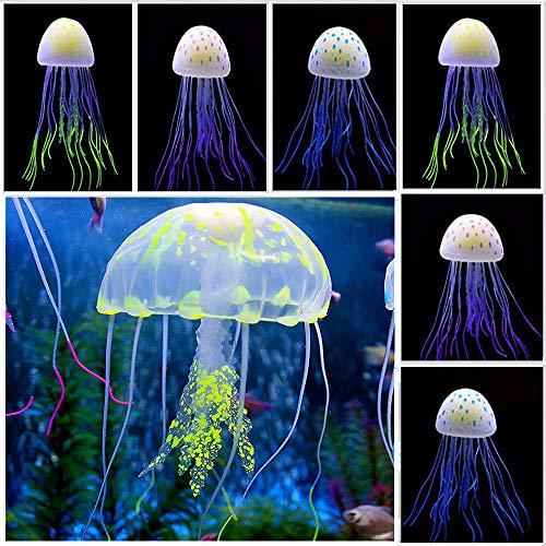 POCKETMAN Aquarium Quallen Ornament Dekoration Floating Neon Künstliche Quallen Silikon Aquarium Ornamente, buntes Dekor leuchtet im Schwarzlicht 6er Pack