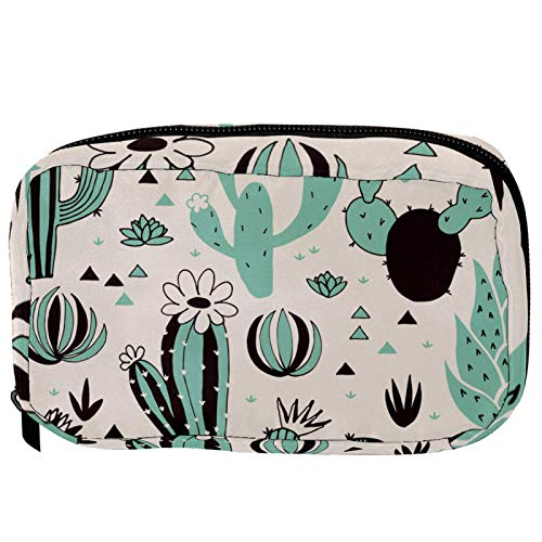 Small Cosmetic Bag for Handbag, Makeup Bag Pouch Cosmetic Beauty Bag Travel Toiletry Wash Bag Pencil Bag Coin Purse Zipper Pouch, Plant Cactus Tree