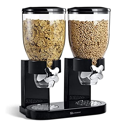 Doppia cereali Dispenser Cibo secco bianco / nero di...