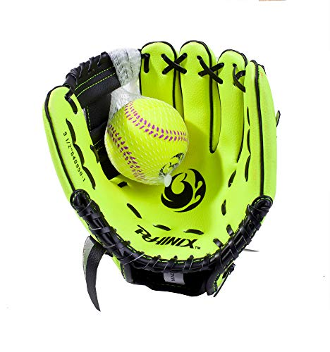 PHINIX 10' Baseball Glove Tee Ball Mitts and Foam Ball for Kids Beginner Play Training Right Hand Throw Yellow