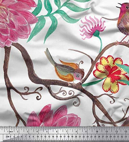 Soimoi Tela Japonesa De Satén De Crepé Con Estampado De Pájaros, Hojas Y Estampados Florales De Yard De 42 Pulgadas De Ancho