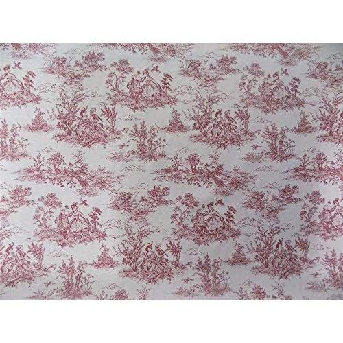 Woven Toile De Jouy Plum curtain fabric by the metre