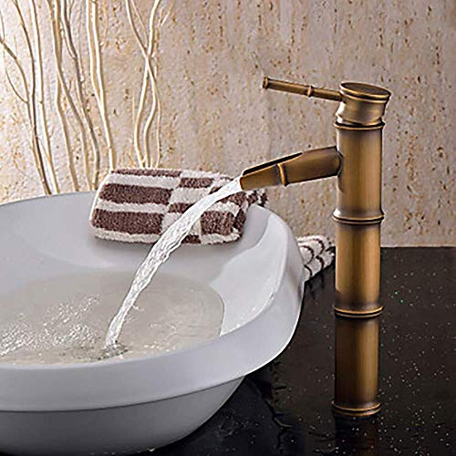 LAMZH Grifo del Lavabo del baño de la Vendimia - Cascada de latón Antiguo de la Cascada un Agujero/un Solo Mango un Grifo