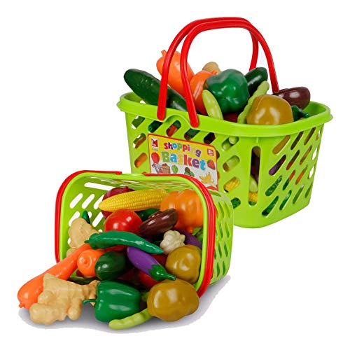 Liberty Imports Fruits and Vegetables Shopping Basket Grocery Play Food Set for Kids - 38 Pieces