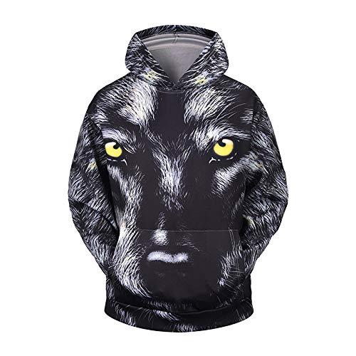 WPHRL Sweats à Capuche Sweatshirt Chemise de Couple Loup féroce Noir 3D Print Pull à Capuche Pullover Sweater Casual Hoodie Manche Longue Tops Hauts 3XL