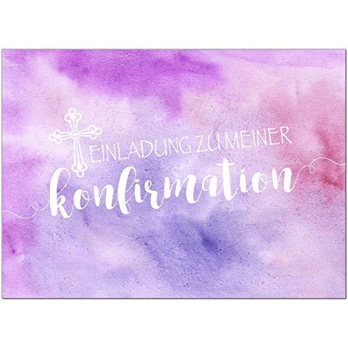 15 x Einladungskarten Konfirmation mit Umschlag/Einladung zu meiner Konfirmation rosa pink/Konfirmationskarten/Einladungen zur Feier