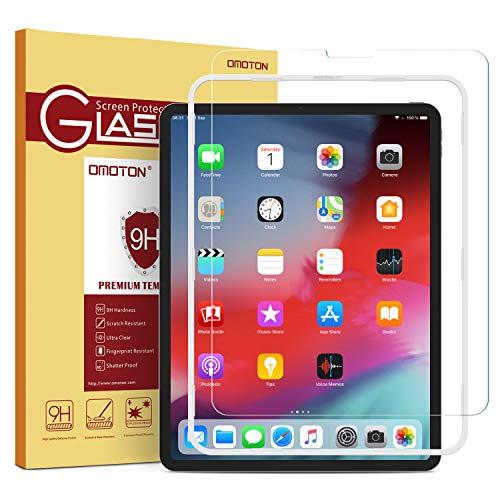 OMOTON Panzerglas fur iPad Pro 11 Zoll 2018 mit Schablone9H Harte Anti Kratzer Anti Ol Anti Blaschen 25D Runde KantenFace ID moglichkompatibel mit Apple Bleistift aktualisiert Version