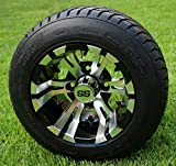 10' VAMPIRE Golf Cart Wheels and 205/50-10 DOT Low Profile Golf Cart Tires Combo - Set of...