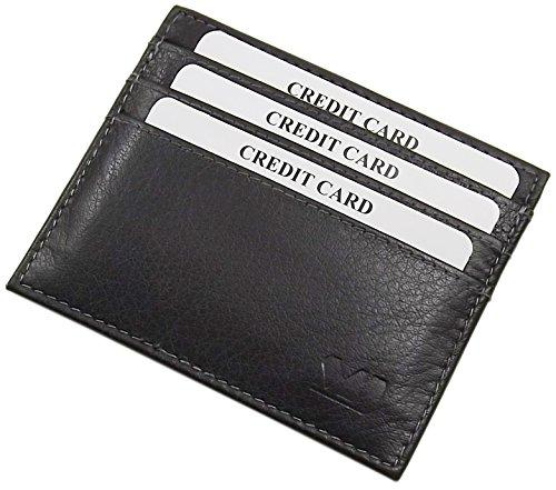 Extra piatto porta carte di credito in pelle di bufalo MJ-Design-Germany in diversi colori (Nero)