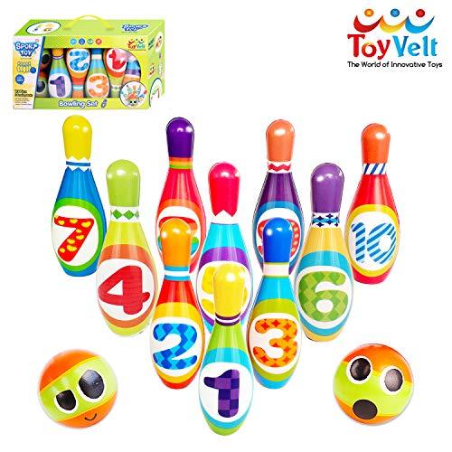 ToyVelt Kids Bowling Set - with 10 Bowling Pins & 2 Balls -...
