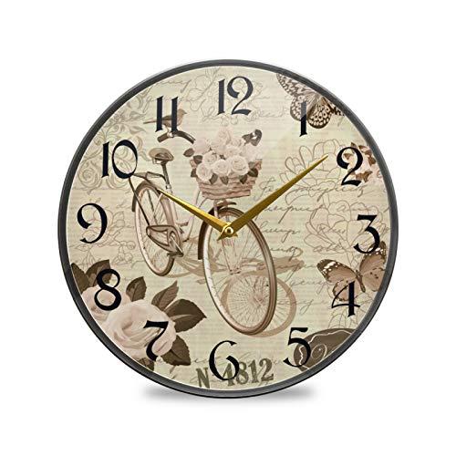 ART VVIES Reloj de Pared Redondo de 12 Pulgadas Que no Hace tictac silencioso Funciona con Pilas Oficina Cocina Dormitorio decoración del hogar-Flores Vintage Mariposa Bicicleta