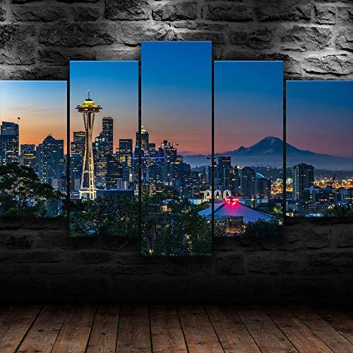 IKDBMUE 5 Piezas Impresión Lona Pintura Lona Seattle City Washington USA Lienzo Arte de la Pared pósters e Impresiones Arte de la Pared Decoración de la habitación de los niños Cuadro