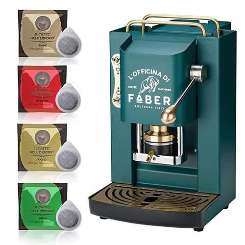 Macchina caffè a Cialde ese Filtro Carta 44mm Faber Pro Deluxe Verde Scuro British con Rifiniture in Ottone con 50 cialde Omaggio Emporio del caffè