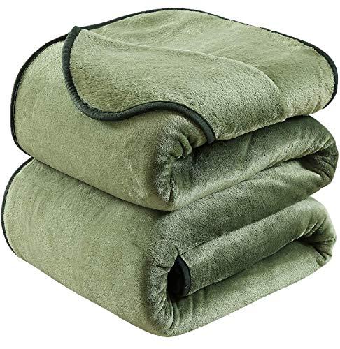 HOZY Kuscheldecke 150x200cm Decke Sofa,Warme Fleecedecke Als Tagesdecke/Sofaüberwurf/Hundedecke/Flauschige Decke Grün