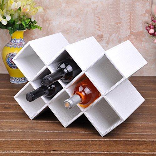 XAGB Mostrador para Vino sobre encimera - Porta Botella de Vino de Mesa Decorativo de 8 Botellas, sin Necesidad de ensamblaje, Madera y Cuero (Color : White)