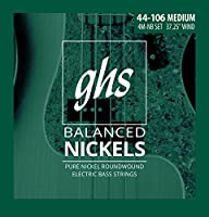 GHS弦4M-NBバランスニッケル4ベースエレクトリックギター弦ミディアムゲージ(37.25インチワインディング)