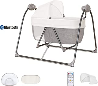 AIBAB Baby Electric Cradle Bed Baby Smart Bluetooth Swing 2-in-1 Multi-Function Bodyguard Big Space Music 0-36 Months Suitable for Birth