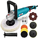 ENEACRO Polisher, Rotary Car Buffer Polisher Waxer, 1200W 7-inch/6-inch Variable Speed 1500-3500RPM, Detachable Handle Perfect for Boat,Car Polishing and Waxing