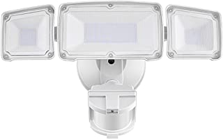 LED Security Lights, 35W Motion Sensor Light Outdoor, GLORIOUS-LITE 3 Head Flood Light with Dusk to Dawn Mode, 5500K-6000K, IP 65 Waterproof, ETL Certified for Garage, Yard, Porch, Entryways - White