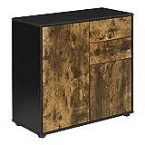 [en.casa] Cómoda - Armario - 74 x 79 x 36 cm - con 2 Cajones y 2 Puertas - Organizador de Oficina - Sideboard - Cajonera Multiusos - Mueble Auxiliar - Efecto Roble Oscuro y Negro