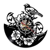 AXEF Tropical Peel and Stick Nature Wall Art Luces LED Flores Aves Reloj Birds in Tree Vinyl Record Clock Songbirds Sparrows Reloj de Pared 30cm