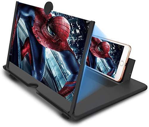 12' Screen Magnifier, 3D HD Mobile Phone Magnifier Projector Screen for Movies, Videos, and Gaming, Foldable Phone Stand with Screen Amplifier Supports All Smartphones