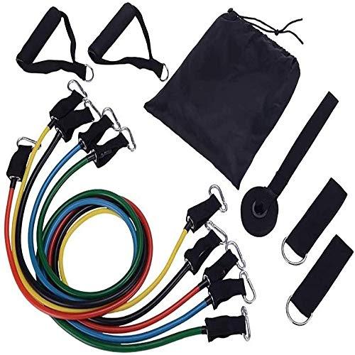 Camecho Widerstandsbänder-Set, 11-teilig, Fitness Stretch Workout Bänder mit Fitness-Schläuchen, Schaumstoff-Griffen, Knöchelriemen, Türanker für Home Gym Fitness (insgesamt 68 kg)