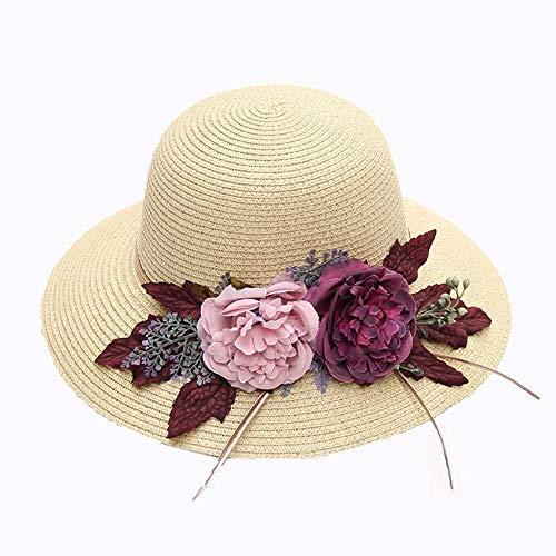 MGE Mujeres Sun Protection Sombreros for Paja Sombrero de la Playa de...