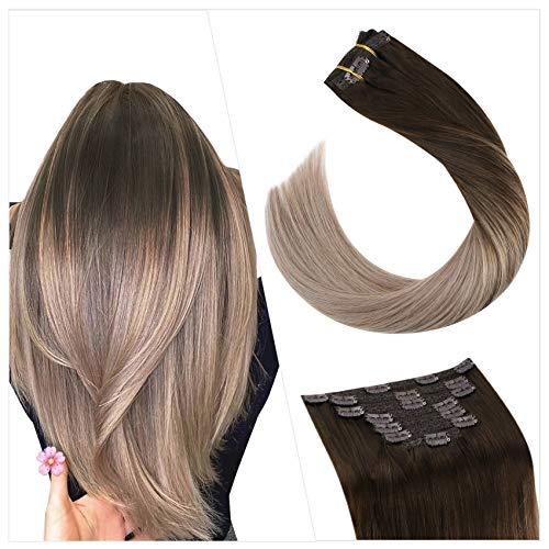 Ugeat Extension Clips Cheveux Naturel 16 Pouces Extensions Cheveux Humain Clips 100G 7PCS Extension A Clip Cheveux Naturel Balayage Marron Foncé avec Blond Cendré #4/18