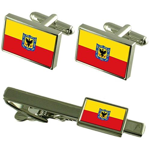 Select Gifts Ciudad Bogotá Colombia Bandera gemelos Clip de corbata Box Set de regalo
