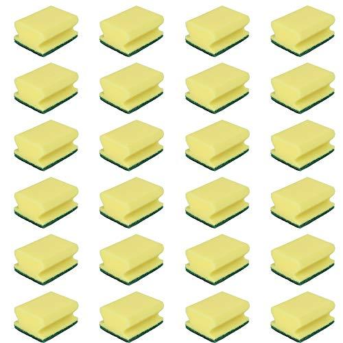 24 Estropajos salvauñas amarillos | Estropajos de cocina multiuso triple capa | Verde Amarillo | 24 Unidades