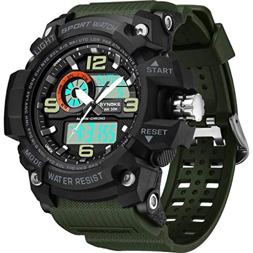Armbanduhr für Heren/Skxinn Männer Wasserdicht Männer Armbanduhr Mode Elegant Outdoor Sports Multi Function Dual Display elektronische Uhr,Luxury Herrenarmbanduhr Herrenuhren Ausverkauf(Armeegrü)