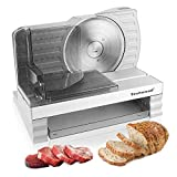 Food Slicer Techwood Pro Electric Meat Slicer with Removable 6.7' Stainless Steel Blade, Deli Cheese Fruit Vegetable Bread Electric Slicer, Adjustable Knob Tilted Food Carriage, Commercial & Home Use