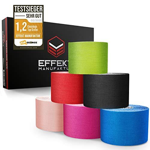 Effekt Manufaktur [5m x 5cm] Kinesiotapes in vielen Farben I Kinesiologie Tape wasserfest & elastisch I Extra starkes Kinesio Tape (6 Rollen Set)