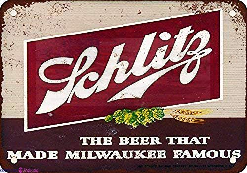 Eletina twinkle Metal Tin Signs Vintage Sign 8x12 Inches 1947 Schlitz Beer Look Reproduction Sign Wall Plaque Retro Club Pub Bar Poster Decor