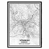 Würzburg Deutschland Karte Wandkunst Leinwand drucken