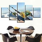 Impresiones sobre Lienzo Caña De Pescar De Caza Mayor Ocean 5 Cuadros En Lienzo Modernos Salón Decoracion Murales Pared Lona XXL Grande Hogar Dormitorios Arte Pared HD Impresión Foto