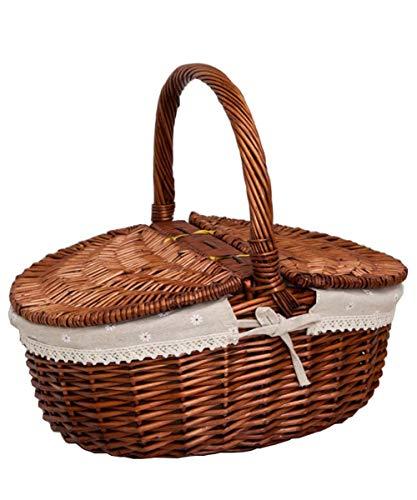 Korb Picknickkorb Stabiler Tragekorb Mit 2 Deckeln Aus Rattan Geflochten Für 2 Personen Picknickkoffer Aufbewahrungskorb 40 * 19CM(braun)