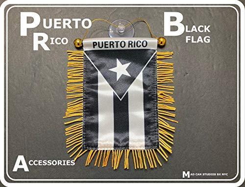 Puerto Rico Flag for Cars Home Flags Puerto Rican Black and White Flag Boricua car Accessory Small Quality Mini Banner PR Rearview Mirror Hanging Sticker Decal Accessories Design Style Rich in Color