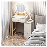 JIAQUAN-SHOP Tocador Vanidad Moderna Simple/tocador con Espejo 4 cajones, gabinete de Almacenamiento de Noche de Dormitorio para Dormitorio, Sala de Maquillaje, Hotel (Color : White, Size : L 60cm)