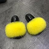 Kirin-1 Pantofole Pelose Rosa,Pantofole Fuzzy Muli Soffici-39_Giallo