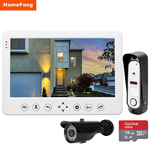 """HomeFong Video Door Phone Doorbell Wires Video Intercom Monitor 10"""" Wired Door Bell Home Security System with IR Night Vision 1200TVL Outdoor doorbell CCTV+16G Memory Card fors Home Security Systems"""