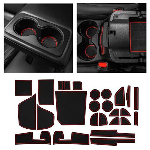 CupHolderHero fits Jeep Cherokee Accessories 2019-2021 Premium Custom Interior Non-Slip Anti Dust Cup Holder Inserts, Center Console Liner Mats, Door Pocket Liners 25-pc Set (Red Trim)