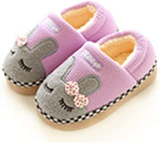 Unisex Cute Home Slippers Kid Fur Lined Winter House Slippers Warm Indoor Slippers