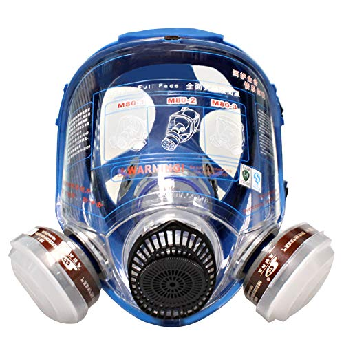 WORKCARE Full Face Reusable Respirator Mask, Double Filter Cartridges Organic Vapor Facepiece Safety Mask, Protection Respiratory Mask for Chemical Dust, Carving, Woodworking