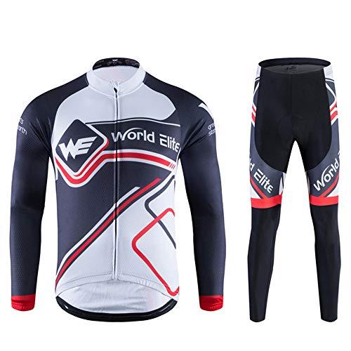 Fietskleding voor heren, heren, fietskleding, sets pak, lange mouwen, fietsjack, casual, outdoor-sportkleding, loopkleding, ademend, sneldrogend, fietsbroek