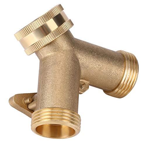 Deror 3/4 Inch Brass 2 Way Valve Splitter Hose Pipe Tap Connectors for Garden Irrigation (European Thread)